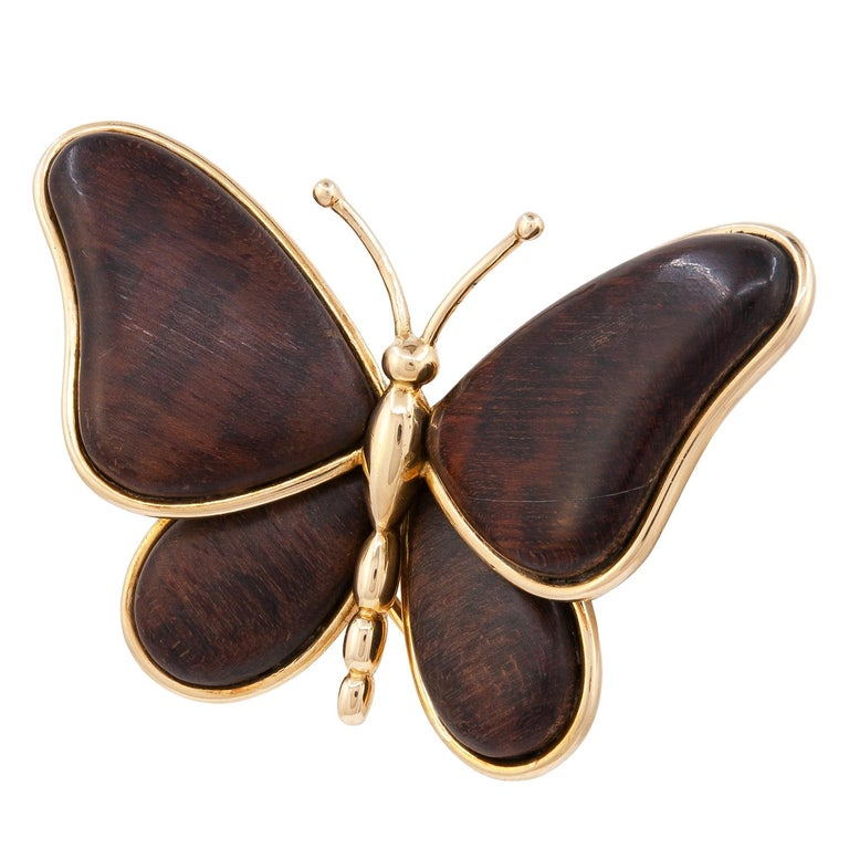 """VAN CLEEF & ARPELS Wood Butterfly Brooch An 18k yellow gold butterfly motif pin brooch/clip. Stamped """"Van Cleef & Arpels"""", serial number, French hallmarks Condition: Good - Previously owned and gently worn, with little signs of use. May show light"""