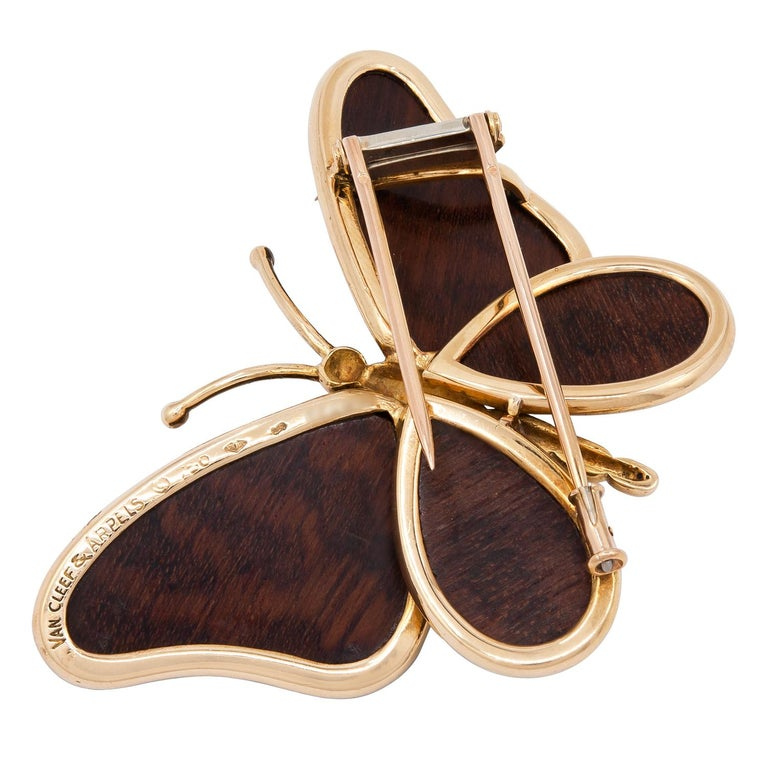 Van Cleef & Arpels Wood Butterfly Brooch In Good Condition For Sale In New York, NY