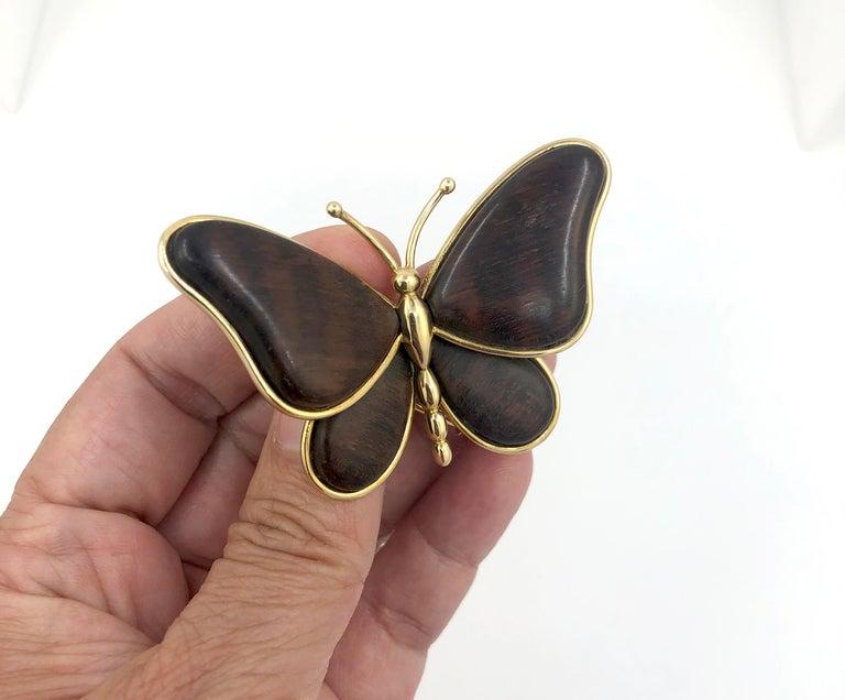 Van Cleef & Arpels Wood Butterfly Brooch For Sale 1