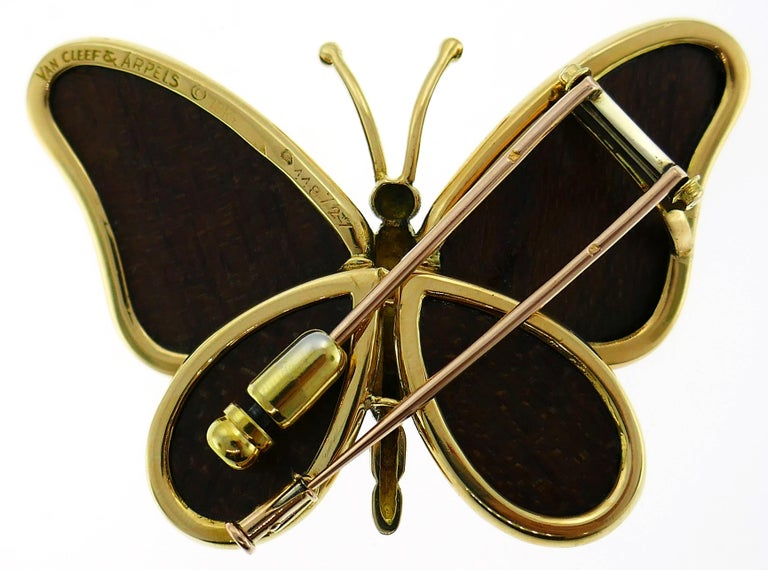Van Cleef & Arpels Wood Yellow Gold Butterfly Pin Brooch Clip VCA For Sale 1
