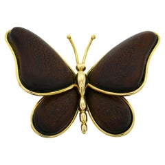 Van Cleef & Arpels Wood Gold Butterfly Pin Brooch Clip VCA