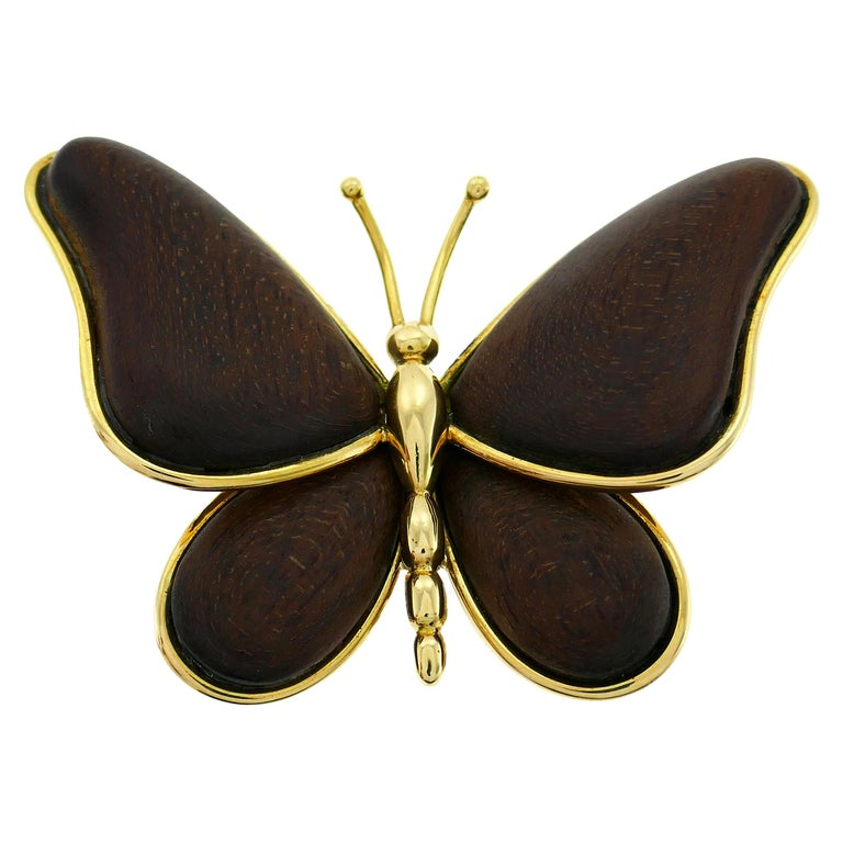 Van Cleef & Arpels Wood Yellow Gold Butterfly Pin Brooch Clip VCA For Sale