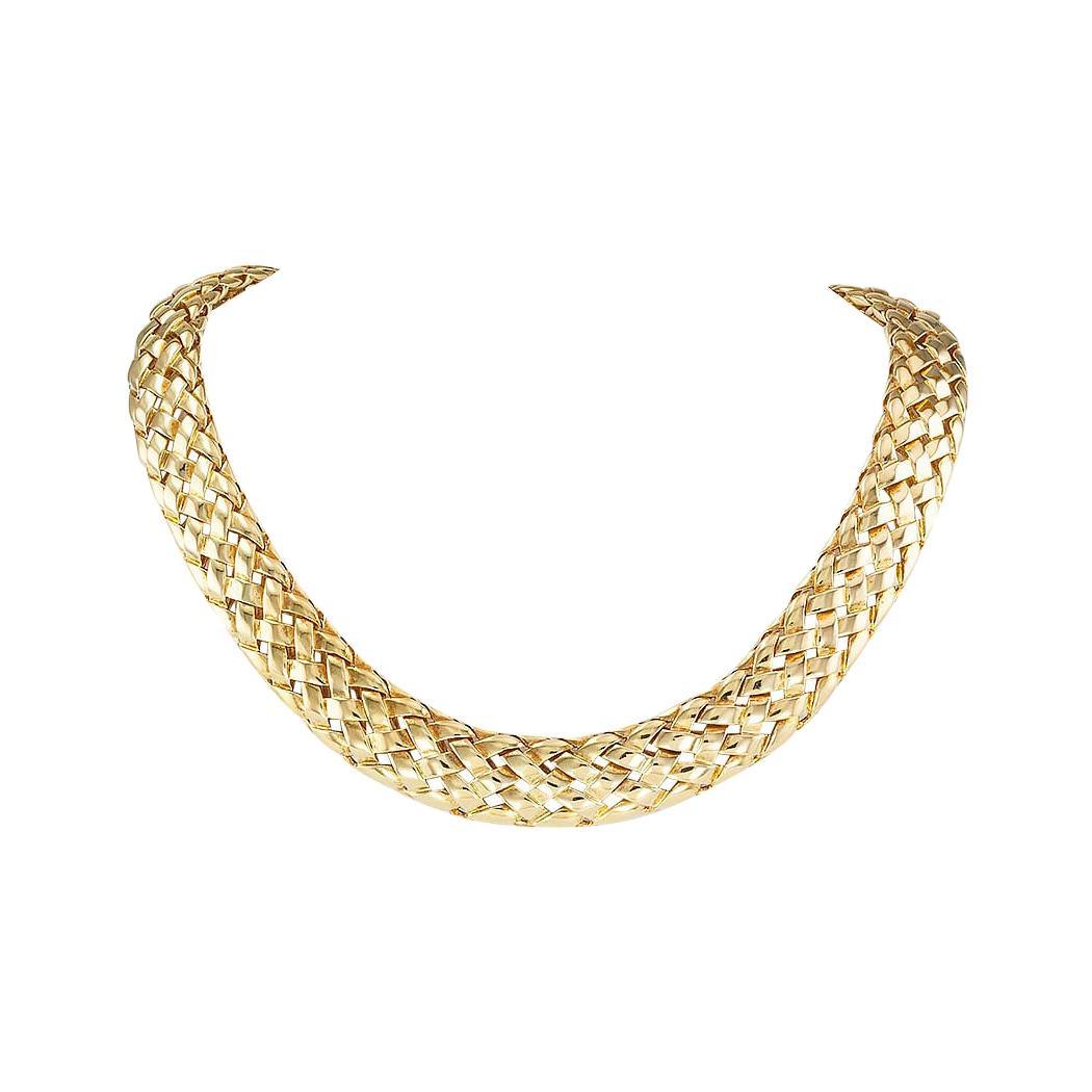 Van Cleef & Arpels Woven Yellow Gold Collar Necklace