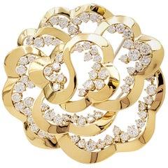 Van Cleef & Arpels Yellow Gold and Diamond Open-Work Flower Brooch