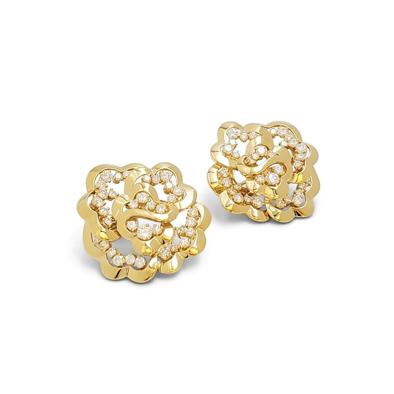 Round Cut Van Cleef & Arpels Yellow Gold and Diamond Open-Work Flower Earrings For Sale