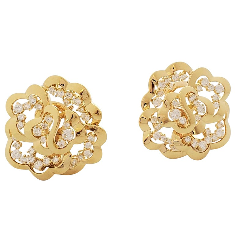 Van Cleef & Arpels Yellow Gold and Diamond Open-Work Flower Earrings For Sale