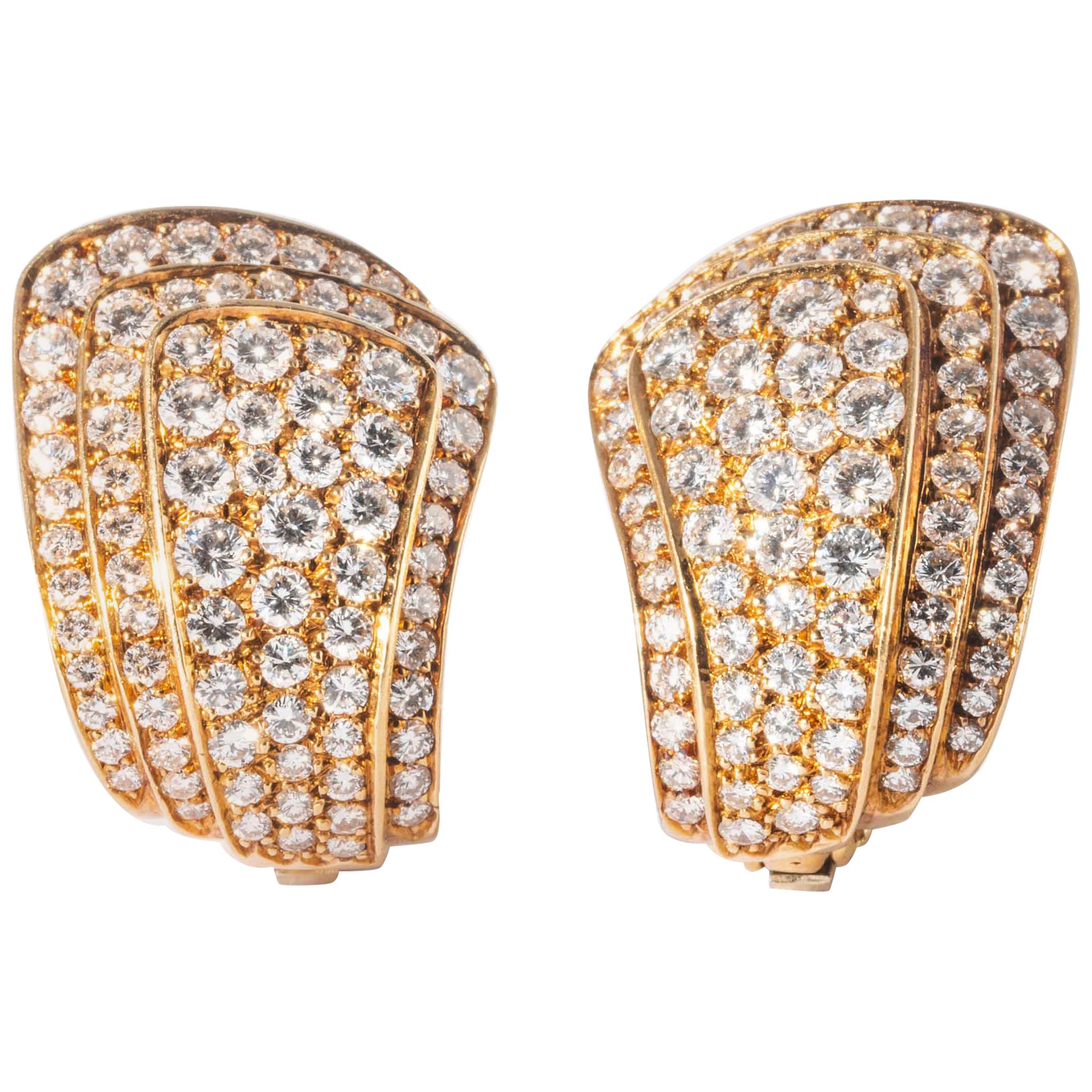 Van Cleef & Arpels Yellow Gold and Diamond Pave Clip Earrings 'Vintage'