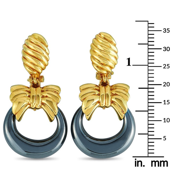 Women's Van Cleef & Arpels Yellow Gold and Hematite Hoop Omega Back Earrings