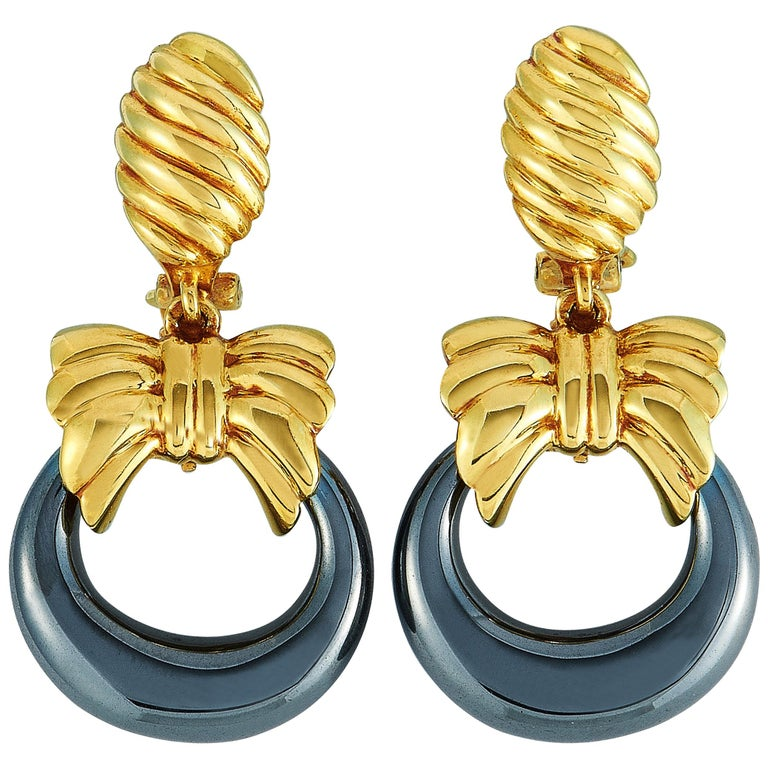 Van Cleef & Arpels Yellow Gold and Hematite Hoop Omega Back Earrings