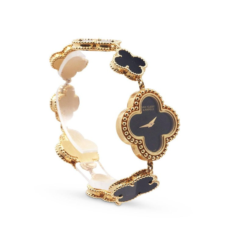 Van Cleef & Arpels Yellow Gold and Onyx Alhambra Watch, Small Model In Excellent Condition For Sale In New York, NY