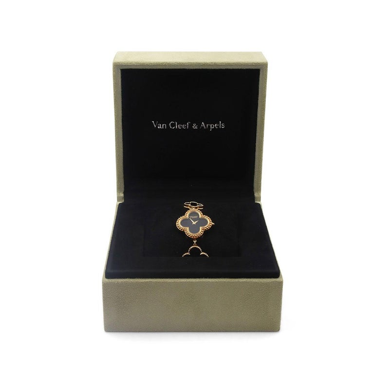 Van Cleef & Arpels Yellow Gold and Onyx Alhambra Watch, Small Model For Sale 1