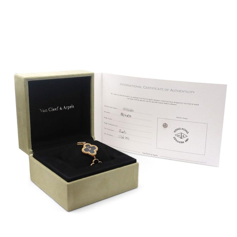 Van Cleef & Arpels Yellow Gold and Onyx Alhambra Watch, Small Model For Sale 3
