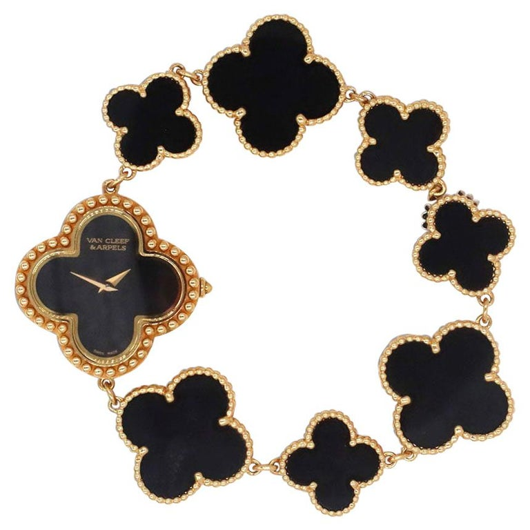 Van Cleef & Arpels Yellow Gold and Onyx Alhambra Watch, Small Model For Sale