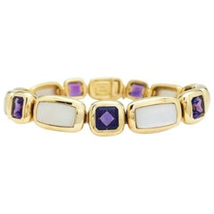 Van Cleef & Arpels Yellow Gold Bracelet, Mother of Pearl and Amethysts