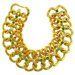 Van Cleef & Arpels Yellow Gold Bracelet with Diamond and Emerald