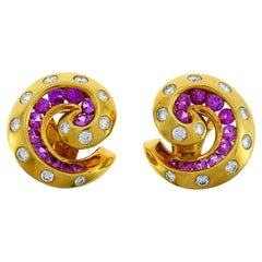 Van Cleef & Arpels Yellow Gold Clip-On Earrings with Diamond and Pink Sapphire