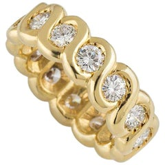 Van Cleef & Arpels Yellow Gold Diamond Eternity Wedding Band Ring 1.40 Carat
