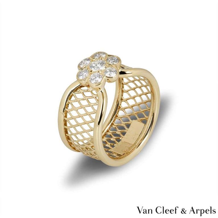 Round Cut Van Cleef & Arpels Yellow Gold Diamond Fleurette Ring For Sale