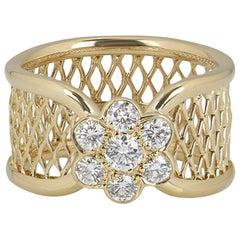 Van Cleef & Arpels Yellow Gold Diamond Fleurette Ring