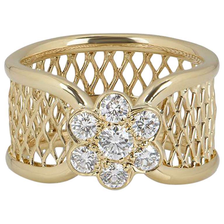 Van Cleef & Arpels Yellow Gold Diamond Fleurette Ring For Sale