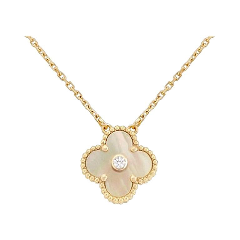 Van Cleef And Arpels Mother Of Pearl Necklace: Van Cleef And Arpels Yellow Gold Diamond Single Mother Of