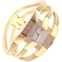 Van Cleef & Arpels Gold Diamond Liane Collection Triple Bracelet Wristwatch