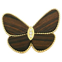 Van Cleef & Arpels Yellow Gold Diamond Wooden Butterfly Brooch Clip
