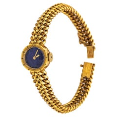 Van Cleef & Arpels Yellow Gold Lapis Dial Ladies Watch, 1960s