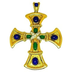Van Cleef & Arpels Yellow Gold Lapis Green Onyx Diamond Cross Pendant