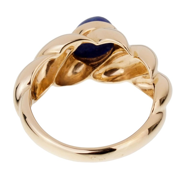 Women's or Men's Van Cleef & Arpels Yellow Gold Lapis Ring For Sale
