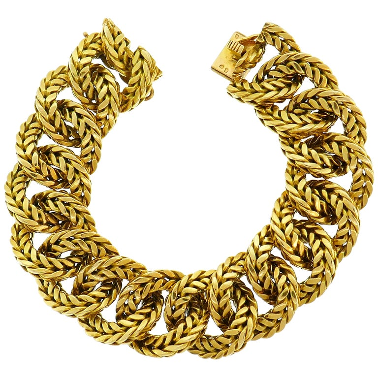 Van Cleef & Arpels Yellow Gold Link Chain Bracelet VCA Paris, 1970s