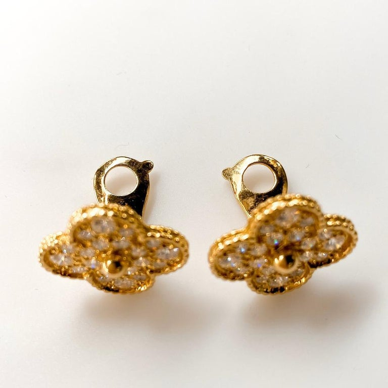 Van Cleef & Arpels Yellow Gold Magic Alhambra Clover Diamond Clip-On Earrings In Excellent Condition For Sale In New York, NY