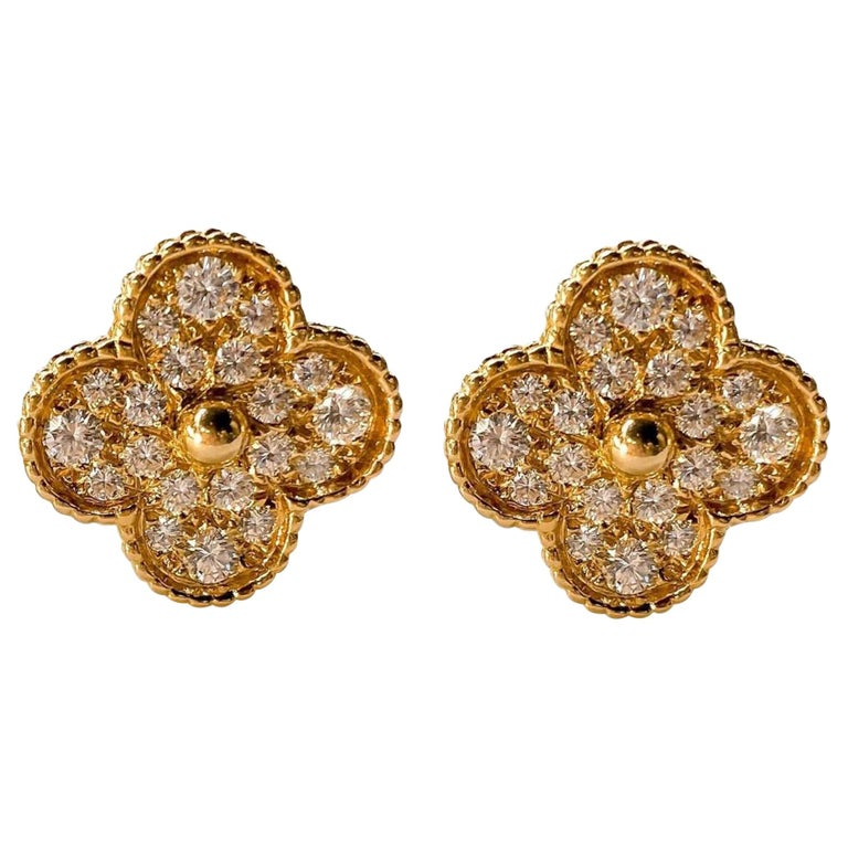 Van Cleef & Arpels Yellow Gold Magic Alhambra Clover Diamond Clip-On Earrings For Sale