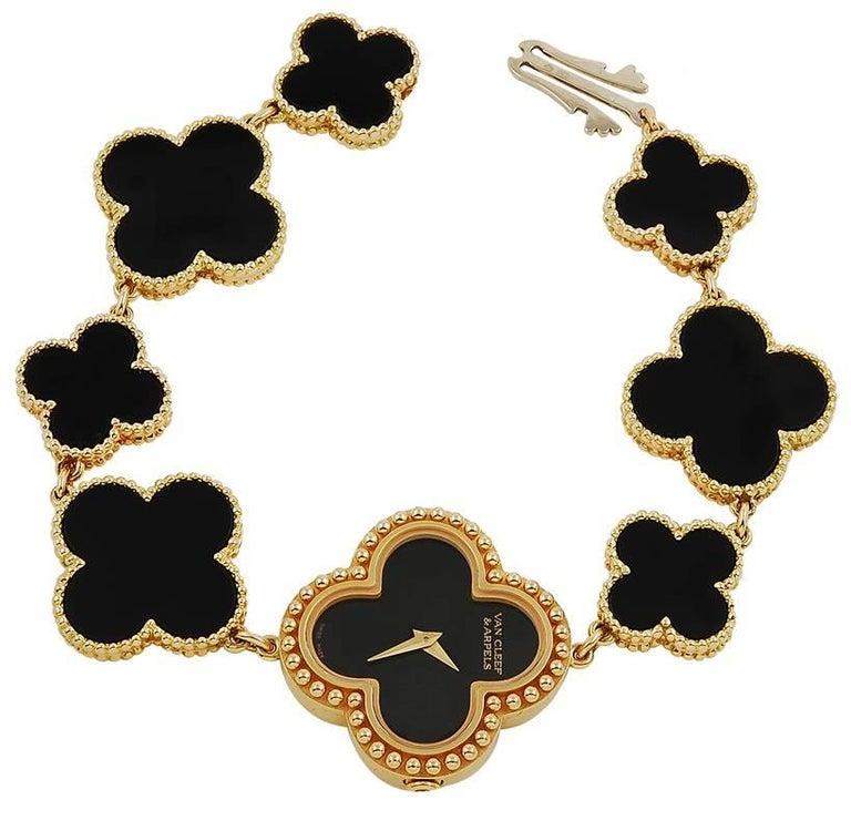 Van Cleef & Arpels yellow gold Onyx Alhambra Bracelet Wristwatch For Sale