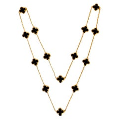 Van Cleef & Arpels Yellow Gold Onyx Pure Alhambra 14 Motif Long Necklace