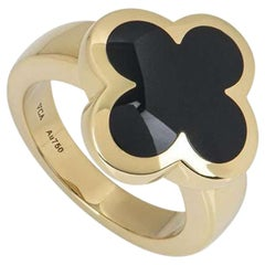 Van Cleef & Arpels Yellow Gold Onyx Pure Alhambra Ring