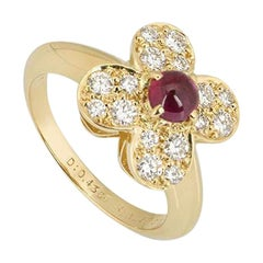 Van Cleef & Arpels Yellow Gold Ruby and Diamond Alhambra Ring