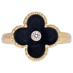 Van Cleef & Arpels Yellow Gold Vintage Alhambra Black Onyx Diamond Clover Ring