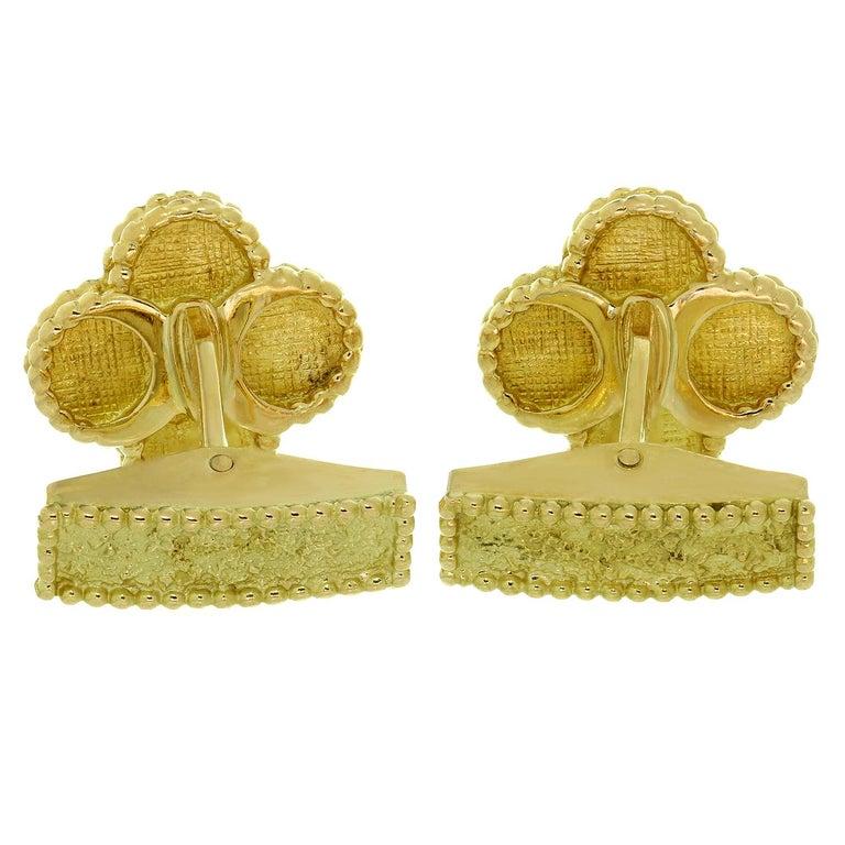 Women's Van Cleef & Arpels Yellow Gold Vintage Alhambra Cufflinks For Sale