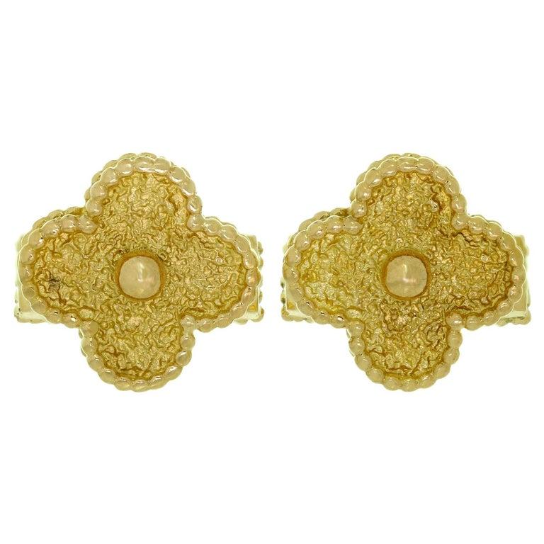 Van Cleef & Arpels Yellow Gold Vintage Alhambra Cufflinks For Sale