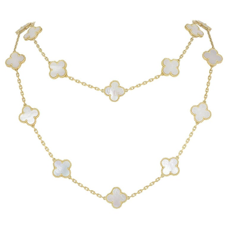Van Cleef & Arpels Yellow Gold Vintage Alhambra Necklace VCARA42100 For Sale