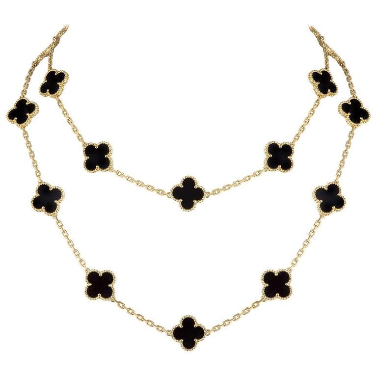 Van Cleef & Arpels Yellow Gold Vintage Alhambra Necklace VCARA43100 For Sale