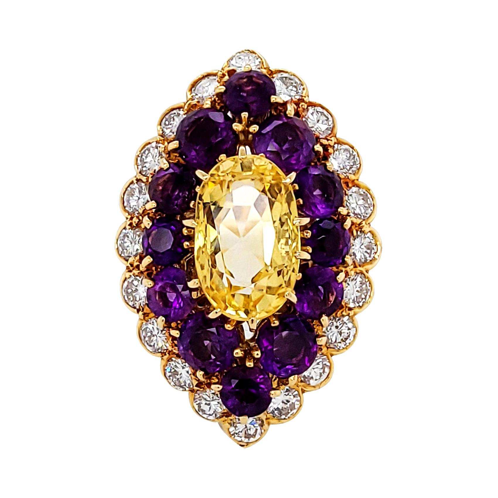 Van Cleef & Arpels Yellow Sapphire Amethyst Diamond Vintage Cocktail Ring