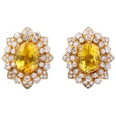 Van Cleef & Arpels Yellow Sapphire and Diamond Earrings