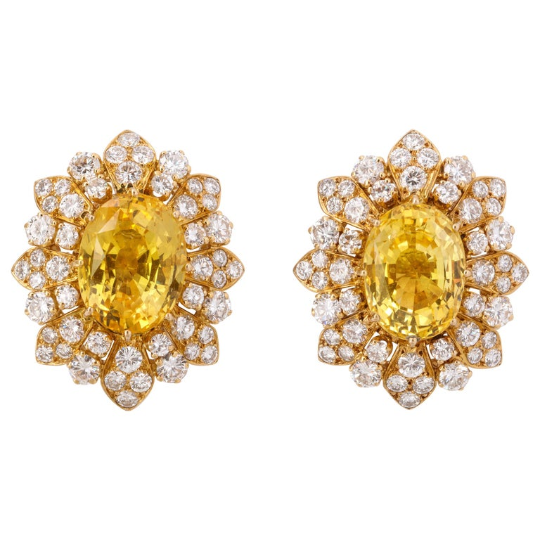 Van Cleef & Arpels Yellow Sapphire and Diamond Earrings For Sale