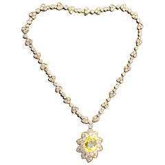 Van Cleef & Arpels Yellow Sapphire and Diamond Necklace and Earring Demi Parure