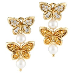 Van Cleef & Arpels Yellow Sapphire, Diamond and Pearl Butterfly Drop Earrings
