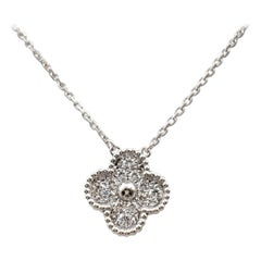 Van Cleef & Arples 'Vintage Alhmabra' White Gold and Diamond Pendant Necklace