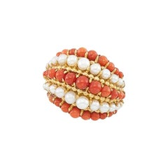 Van Cleef & Arpels Coral Pearl Gold Retro Ring