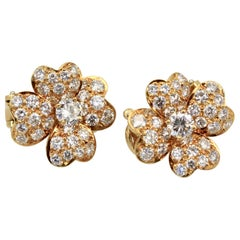 Van Cleef Cosmos Diamond Earrings Small 18 Karat Yellow Gold